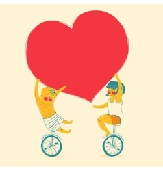 Girl and boy is riding bike love and friendship vector