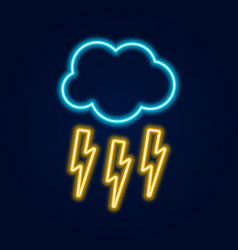 glowing neon thunderstorm weather icon storm vector image