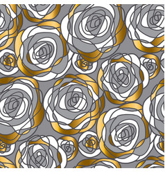 gold and gray hand drawn rose motif vector image
