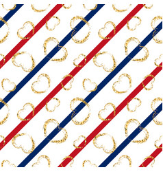 Gold heart seamless pattern blue-red-white vector