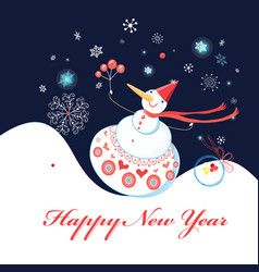 greeting christmas card with snowman on a dark vector image