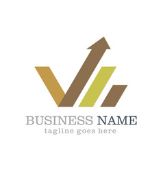 grow arrow business finance logo vector image