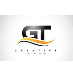 Gt g t swoosh letter logo design with modern vector