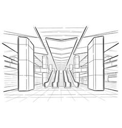 Hand drawn sketch moscow metro station vector