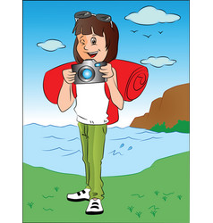 Happy teenage girl with camera in front of river vector