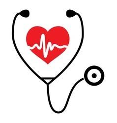 heart heartbeat stethoscope vector image