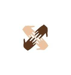 Isolated abstract four brown and white skin human vector