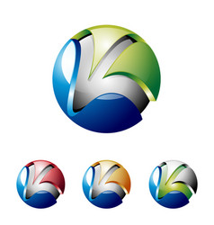 k letter initial 3d shiny ball technology vector image