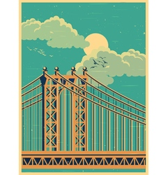 Large bridge old poster vector