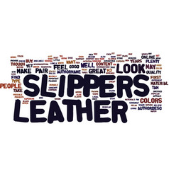 Leather slippers text background word cloud vector
