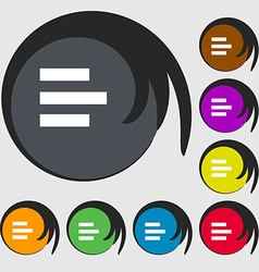 Left-aligned icon sign Symbols on eight colored vector