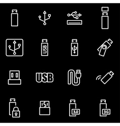 Line usb icon set vector