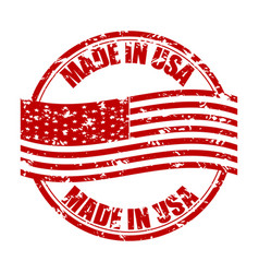 Made in usa rubber stamp with flag fabricated in vector