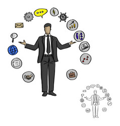 Male businessman with business icons around vector