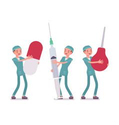 male nurse and big tools vector image
