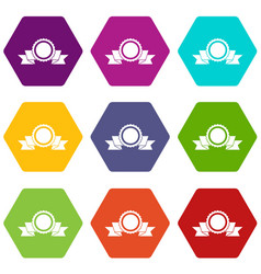 medal with ribbon icon set color hexahedron vector image