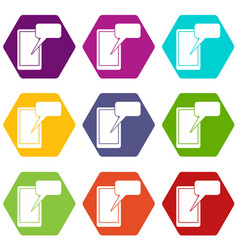 Mobile chatting icon set color hexahedron vector