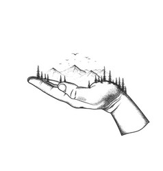 mountain and forest are located on a hand vector image
