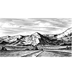 Mountain landscape background alpine peaks vector