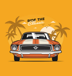 orange muscle car front view vector image