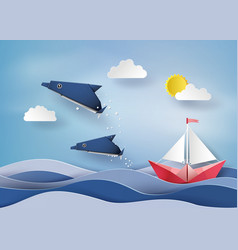 origami made dolphin and sailing boat float on sea vector image