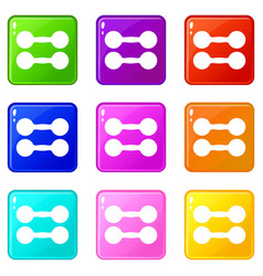 Pair of dumbbells icons 9 set vector