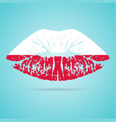 poland flag lipstick on the lips isolated on a vector image