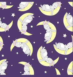 rabbit pattern seamless pattern vector image