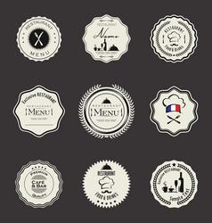 Restaurant labels black collection vector