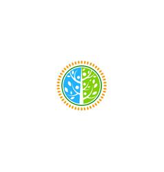 round green tree nature emblem logo vector image