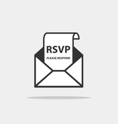 Rsvp icon please respond letter in envelop vector