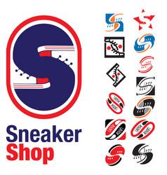 S letter based sneaker shoes shop vector