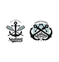 sailing cruise logo or label seafaring concept vector image