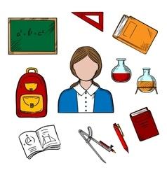 School teacher and education icons vector
