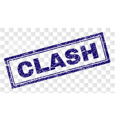 Scratched clash rectangle stamp vector