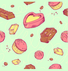 seamless pattern of colored sketches vector image