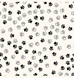 Seamless pattern with chaotic animal paw vector
