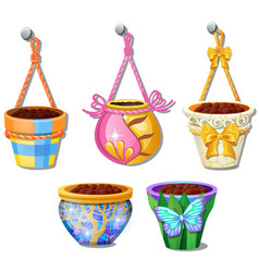 Set flower pots hanging on rope isolated vector