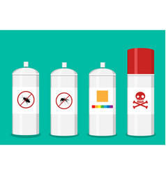 set of spray can in flat art vector image