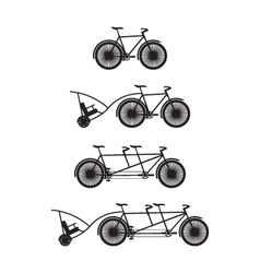 Silhouettes of bicycles and tandem-bicycles vector