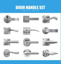 Silver door handle collection vector