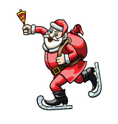 skating santa claus with a bell vector image