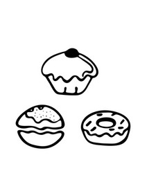 Sufganiyot doodle icon on white background vector