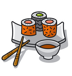 Sushi with sauce vector