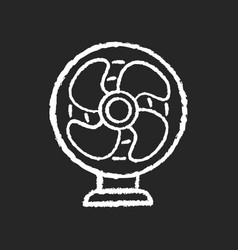 Table fan chalk white icon on black background vector