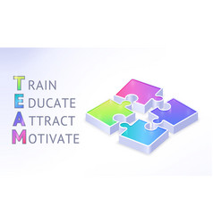 team work isometric banner with puzzle pieces vector image