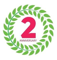 Template Logo 2 Anniversary in Laurel Wreath vector image