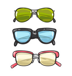 Three pairs of sun glasses different spectacles vector