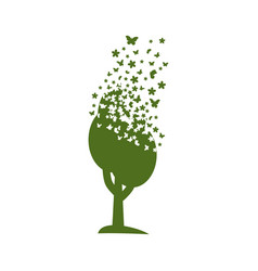 Tree dispersing into a cloud flowers vector