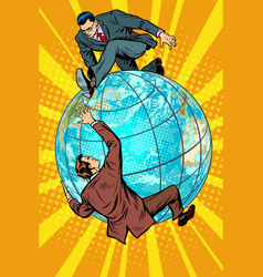 Two people fighting on the planet earth vector